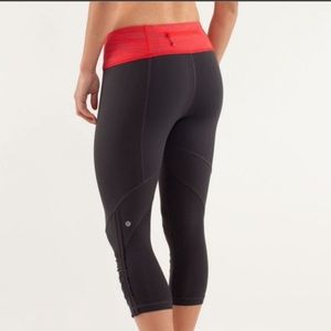 Lululemon Run For Your Life Crops in Wee Are From Space Love Red Coal